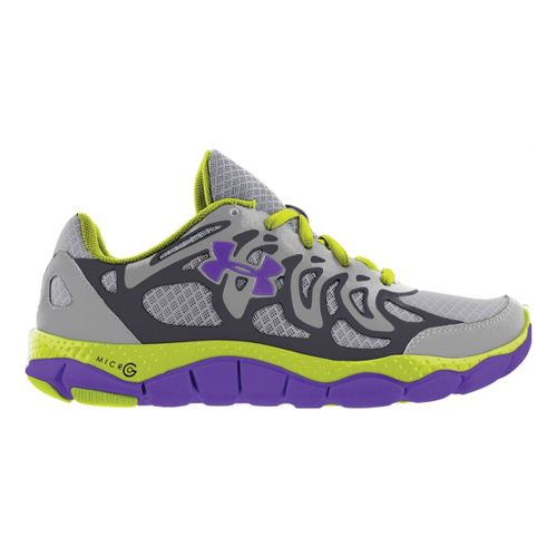 Womens Under Armour Micro G Engage Running Shoe - Steel/Neon 9.5