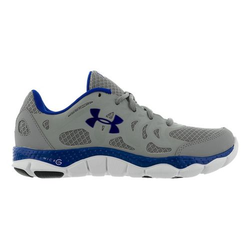Womens Under Armour Micro G Engage Running Shoe - Steel/Royal 10.5