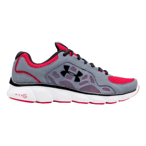 Kids Under Armour Boys GS Micro G Assert IV Running Shoe - Gravel/Red 6.5