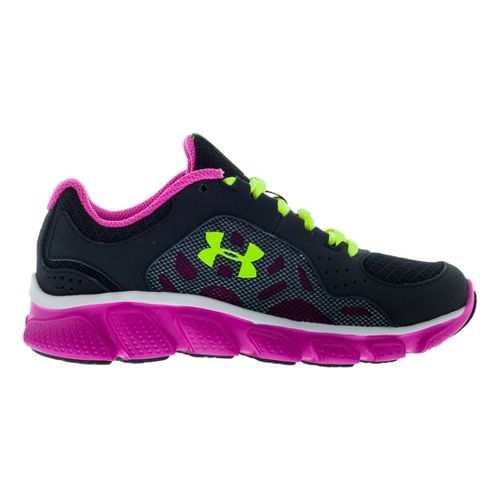 Kids Under Armour Girls PS Assert IV Running Shoe - Black/Pink 13