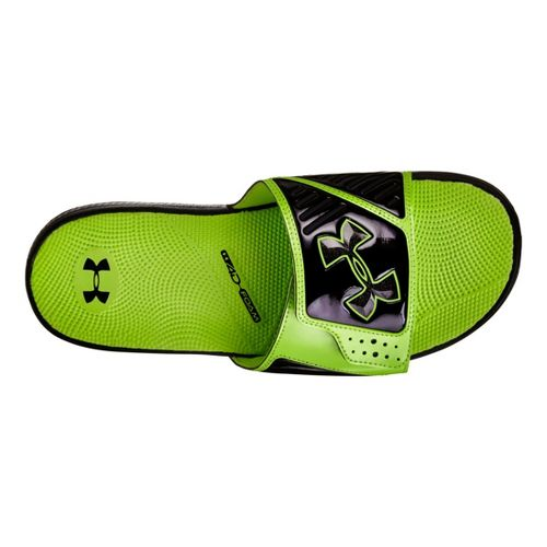 Mens Under Armour Micro G EV SL Sandals Shoe - Black/Green 4