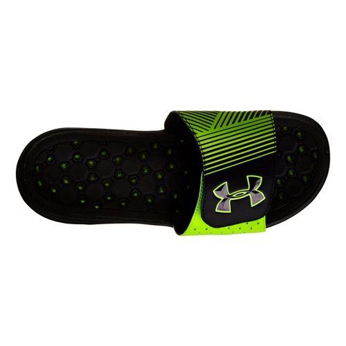 Mens Under Armour Playmaker IV SL Sandals Shoe - Black/Green 11