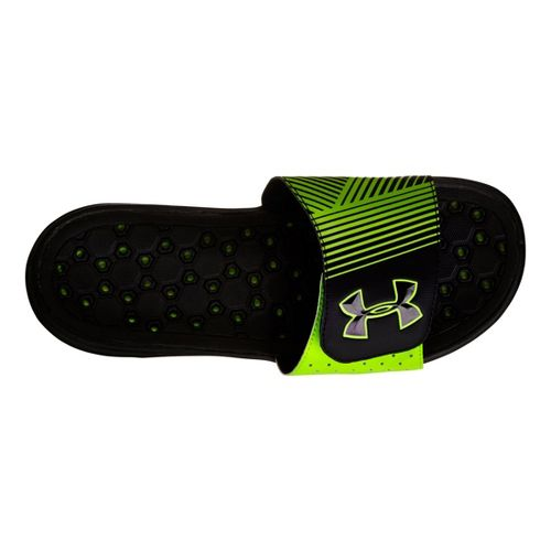 Mens Under Armour Playmaker IV SL Sandals Shoe - Black/Green 13