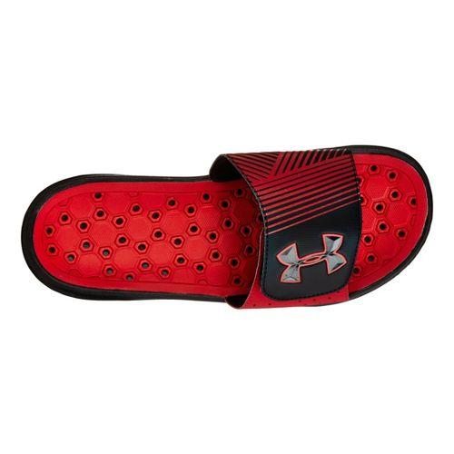 Mens Under Armour Playmaker IV SL Sandals Shoe - Black/Red 16