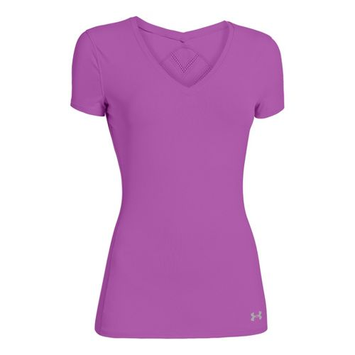Womens Under Armour Armourvent Short Sleeve Technical Tops - Exotic Bloom L