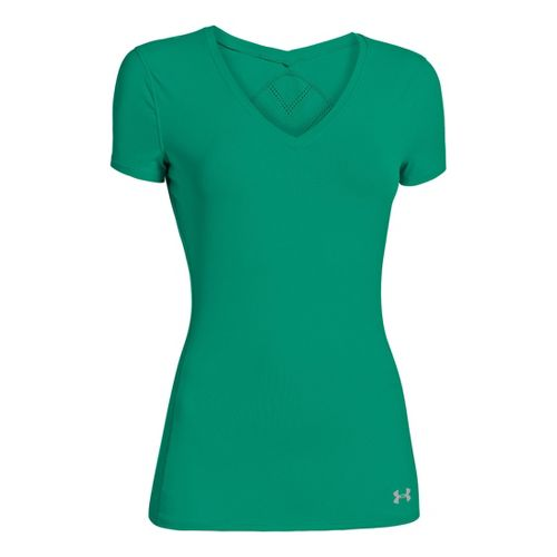 Womens Under Armour Armourvent Short Sleeve Technical Tops - Emerald Lake XS
