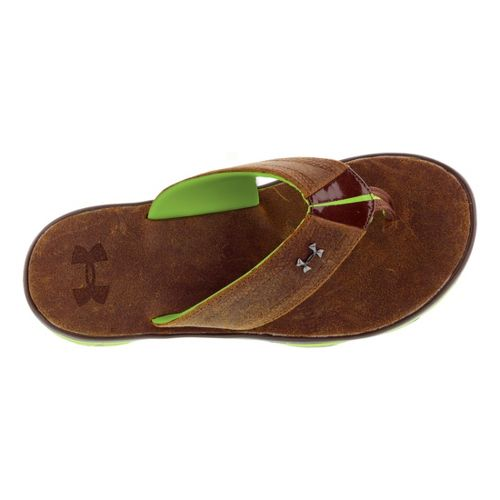 Mens Under Armour Toxic Six Leather T Sandals Shoe - Mahogany 14