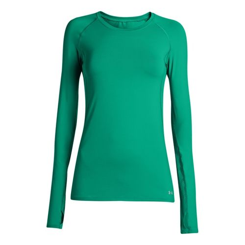 Womens Under Armour Armourvent Long Sleeve No Zip Technical Tops - Emerald Lake XS