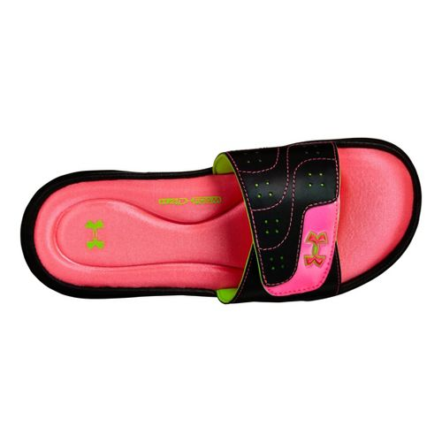 Womens Under Armour Ignite VI SL Sandals Shoe - Black/Hyper Green 7