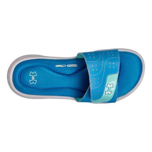 Womens Under Armour Ignite VI SL Sandals Shoe - White/Blue 9