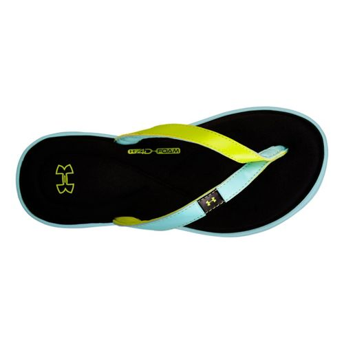 Womens Under Armour Marbella IV T Sandals Shoe - Light Blue/Lime Green 10