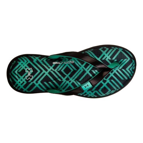 Womens Under Armour Marbella IV Grid T Sandals Shoe - Black/Aqua 8