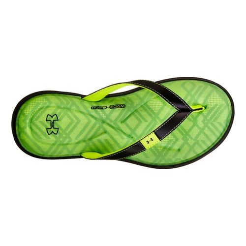 Womens Under Armour Marbella IV Grid T Sandals Shoe - Black/Green 11