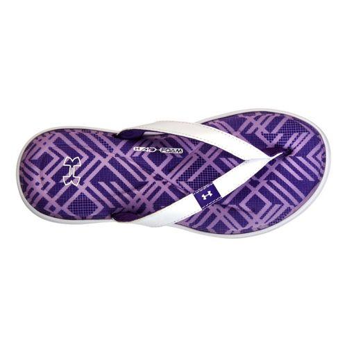 Womens Under Armour Marbella IV Grid T Sandals Shoe - White/Purple 10