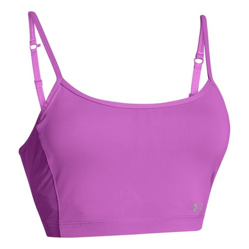 Womens Under Armour Armourvent Crop Tank Sport Top Bras - Exotic Bloom S