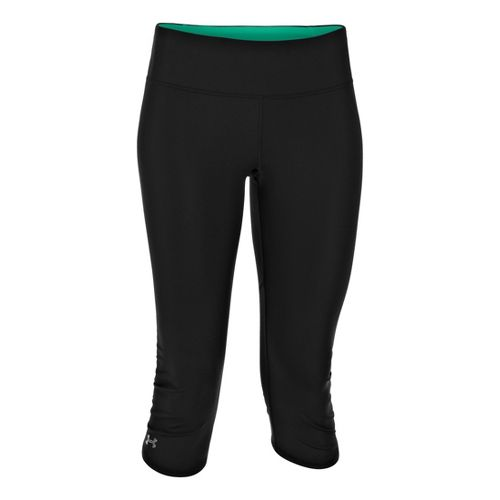 Womens Under Armour Armourvent Capri Tights - Black/Emerald Lake XS