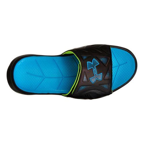 Kids Under Armour Boys Spine II SL Sandals Shoe - Black/Blue 4