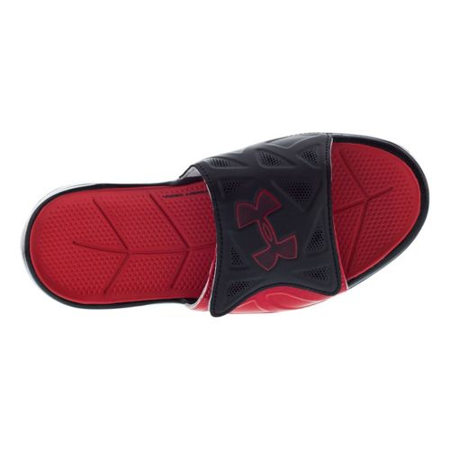 Kids Under Armour Boys Spine II SL Sandals Shoe - Black/Red 4