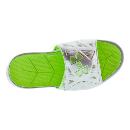 Kids Under Armour Boys Spine II SL Sandals Shoe - White/Green 4