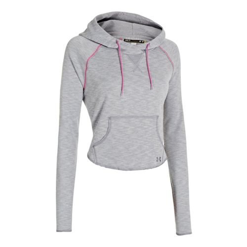 Womens Under Armour UA Rollick Warm-Up Hooded Jackets - True Grey Heather XS