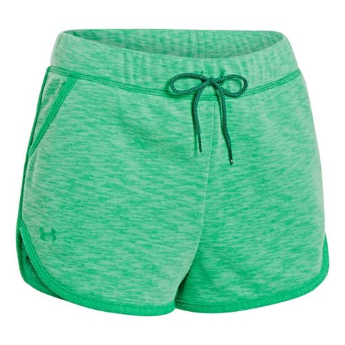 Womens Under Armour UA Rollick Shorty Unlined Shorts - Emerald Lake M