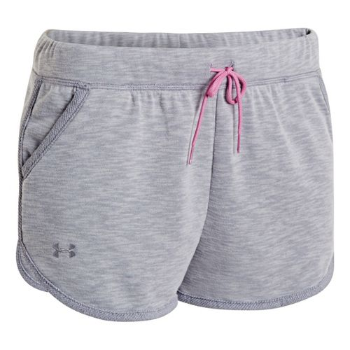 Womens Under Armour UA Rollick Shorty Unlined Shorts - True Grey Heather L