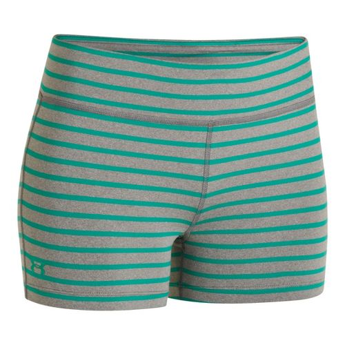 Womens Under Armour UA Ultimate Shorty Unlined Shorts - True Grey Heather/Emerald Lake XS