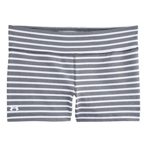 Womens Under Armour UA Ultimate Shorty Unlined Shorts - True Grey Heather/White S