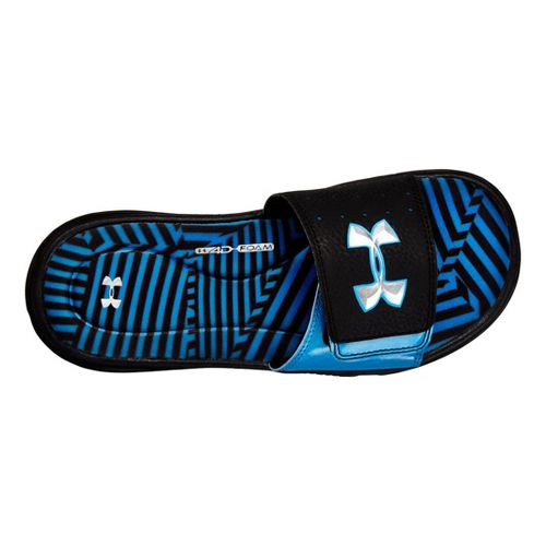 Kids Under Armour Boys Ignite Illusion III SL Sandals Shoe - Black/Blue 4