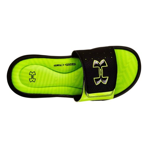 Kids Under Armour Boys Ignite Illusion III SL Sandals Shoe - Black/Neon Green 1