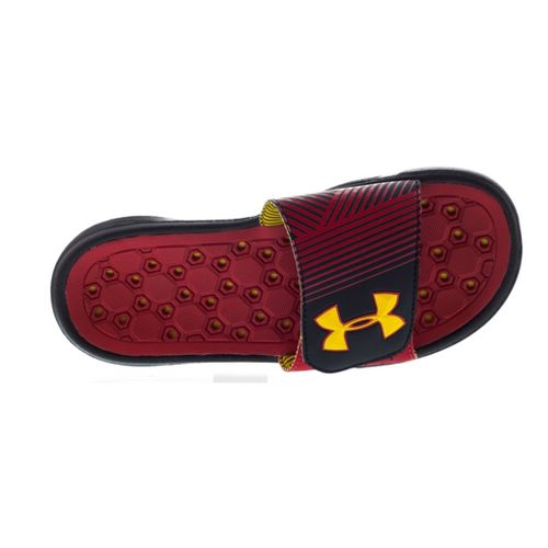 Kids Under Armour Boys Playmaker IV SL Sandals Shoe - Black/High Vis Yellow 2