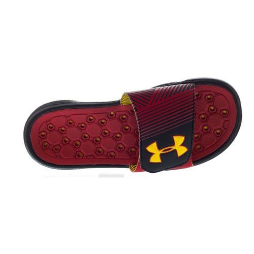 Kids Under Armour Boys Playmaker IV SL Sandals Shoe - Black/High Vis Yellow 3