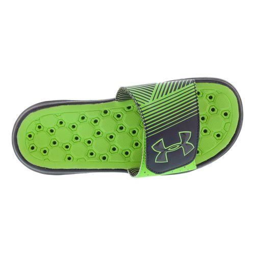 Kids Under Armour Boys Playmaker IV SL Sandals Shoe - Black/Hyper Green 7