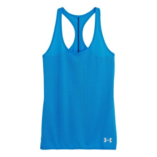 Womens Under Armour UA Bolo Tanks Technical Tops - Electric Blue/Lead M