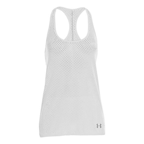 Womens Under Armour UA Bolo Tanks Technical Tops - White/Emerald Lake XL