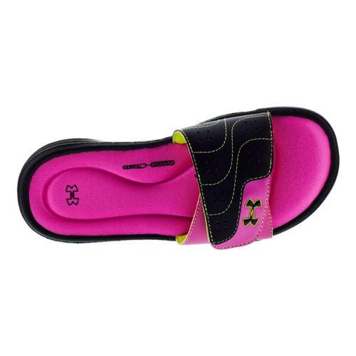 Kids Under Armour Girls Ignite VI SL Sandals Shoe - Black/Pink 4