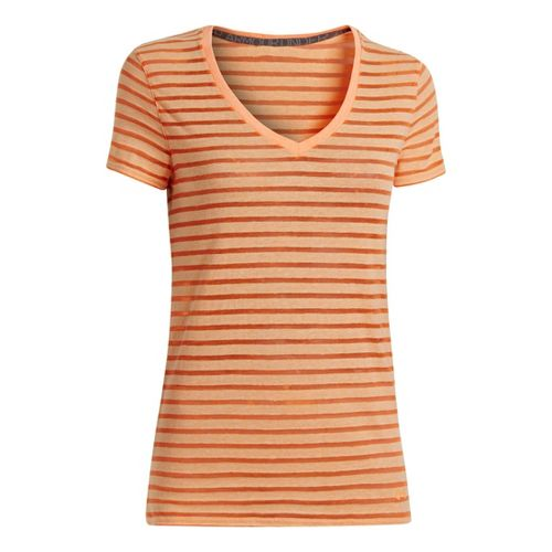 Womens Under Armour UA Charged Cotton Legacy Burnout Stripe T Short Sleeve Technical Tops - ...