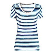Womens Under Armour UA Charged Cotton Legacy Burnout Stripe T Short Sleeve Technical Tops
