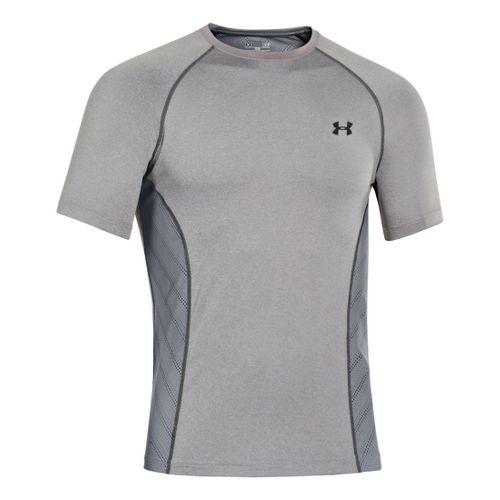Mens Under Armour HeatGear Sonic Armourvent Short Sleeve Technical Tops - True Grey Heather S ...