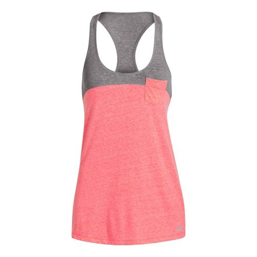 Womens Under Armour UA Charged Cotton Legacy Tanks Technical Tops - Brilliance/Aluminum L