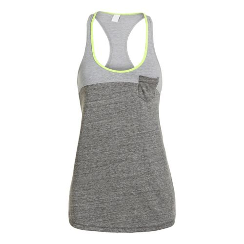 Womens Under Armour UA Charged Cotton Legacy Tanks Technical Tops - Charcoal/Aluminum M