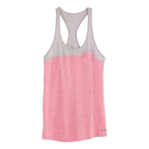 Womens Under Armour UA Charged Cotton Legacy Tanks Technical Tops - Chaos/Aluminum S