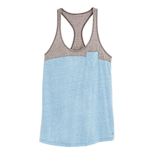 Womens Under Armour UA Charged Cotton Legacy Tanks Technical Tops - Electric Blue/Charcoal L