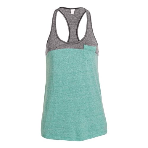 Womens Under Armour UA Charged Cotton Legacy Tanks Technical Tops - Emerald Lake/Chalk M
