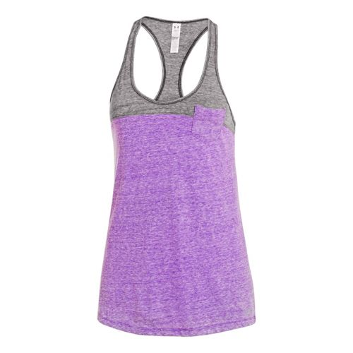 Womens Under Armour UA Charged Cotton Legacy Tanks Technical Tops - Pride/Charcoal L
