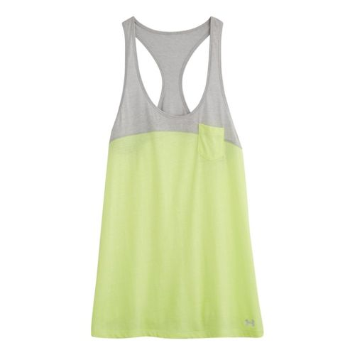 Womens Under Armour UA Charged Cotton Legacy Tanks Technical Tops - X-Ray/Aluminum M