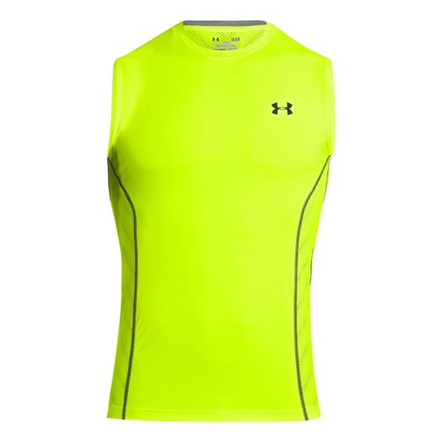 Mens Under Armour HeatGear Sonic Armourvent Sleeveless Technical Tops - High Vis Yellow M