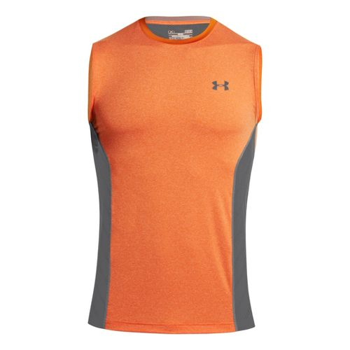 Mens Under Armour HeatGear Sonic Armourvent Sleeveless Technical Tops - Orange S