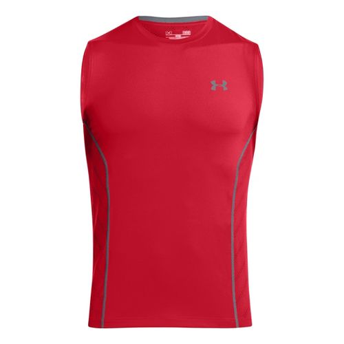 Mens Under Armour HeatGear Sonic Armourvent Sleeveless Technical Tops - Red M