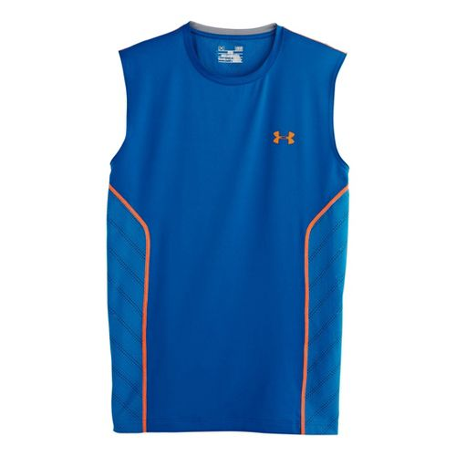Mens Under Armour HeatGear Sonic Armourvent Sleeveless Technical Tops - Superior Blue M